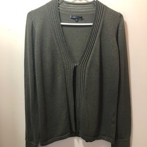 Anne Klein Green and Shimmery Gold Cardigan